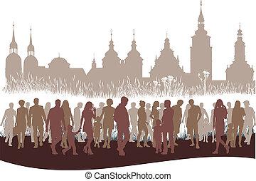 stad mensen, groep, voor