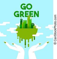 stad, miljö, grön, räcker, planet, omsorg