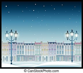 stad, model, illustration., kerstmis, seamless