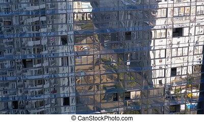 stad, moderne, vensters, reflectie, gebouw