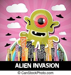 stad, monster, ufo, groot, abstract, alien, vector, groene,...
