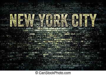 stad muur, york, grungy, nieuw, baksteen