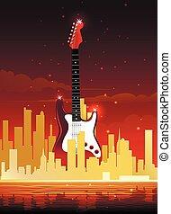 stad, muziek, illustratie