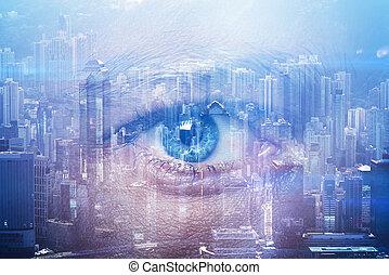 stad, närbild, ögon, dubbel, samtidig, bakgrund., visuell, effekter, mänsklig, horisontal, exponering