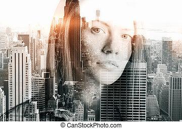 stad, nadenkend, vrouw, achtergrond