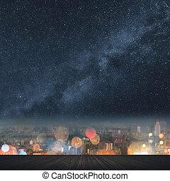 stad, natt, med, stjärnor