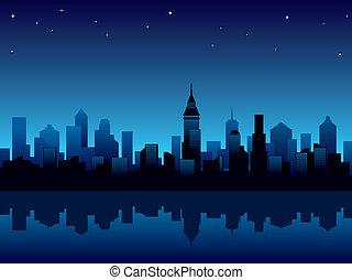 stad, natt