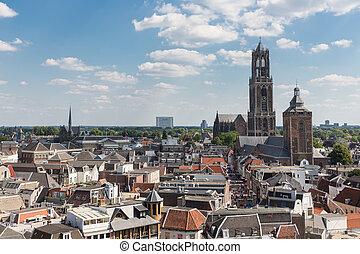 stad, nederland, luchtopnames, middeleeuws, vierde,...