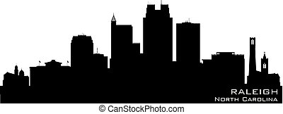 stad, noorden, skyline, vector, raleigh, silhouette,...