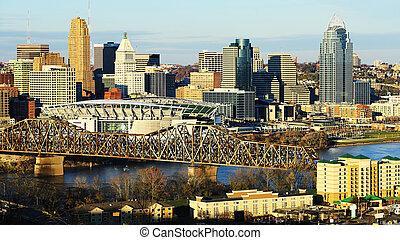 stad, ohio, aanzicht, centrum, cincinnati