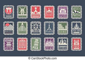 stad, olik, länder, kollektion, milstolpar, symboler, frimärken, vektor, arkitektonisk, illustrationer