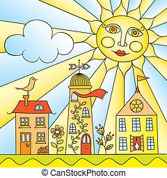 stad, onder, zon