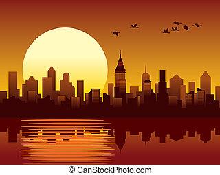 stad, ondergaande zon