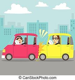 stad, ongeluk, auto