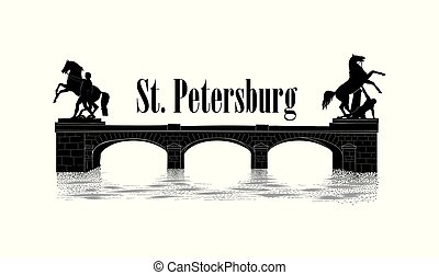 stad, oriëntatiepunt, fontanka, brug, straat., anichov, silhouette, russia., symbool, russische , vector, achtergrond., cityscape, overzicht., rivier, petersburg