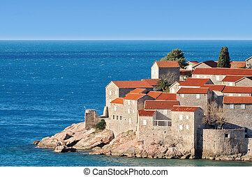 stad, oud, montenegro, eiland