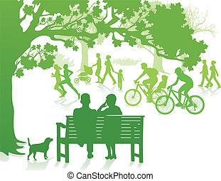 stad parkera, grön