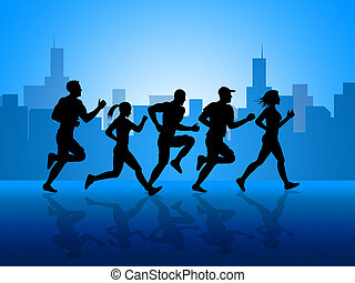 stad, passen, krijgen, aerobic oefening, optredens