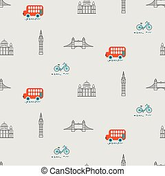 stad, pattern., seamless, tema, vektor, london, unge