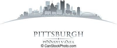 stad, pittsburgh, illustration, silhouette., pennsylvania, horisont, vektor