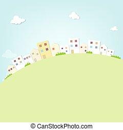 stad, plat, panorama