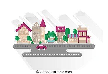 stad, plat, stijl, stedelijk ontwerp, kleine, landscape