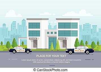 stad, politie, stedelijke , moderne, -, illustratie, vector, achtergrond, station