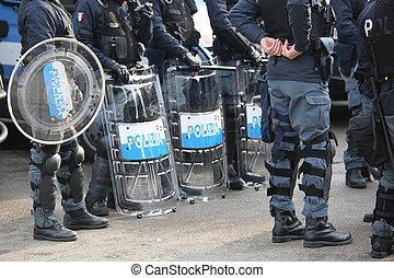 stad, politie, tandwiel, rel, schilden, gedurende, gebeurtenis