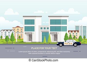 stad, politie, tekst, moderne, -, illustratie, vector, plek, station