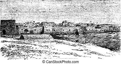 stad, poort, van, band, in, libanon, ouderwetse , gravure