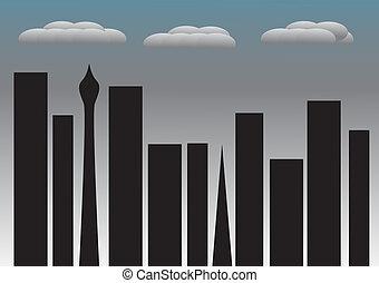stad, rainclouds, nee, lichten, nacht, gordijnen