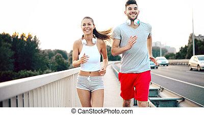 stad, rennende , paar, jogging, buiten