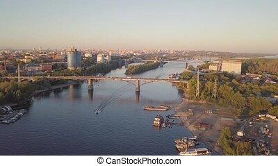 stad, rivier, bruggen