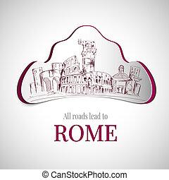 stad, rom, emblem
