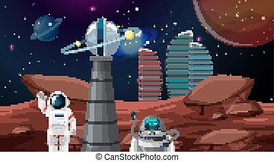 stad, ruimtevaarder, ruimte