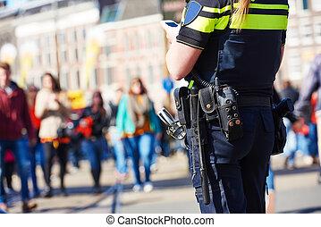 stad, safety., polisman, in, den, gata