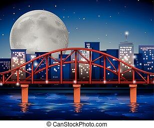 stad scen, med, bro, över, den, flod
