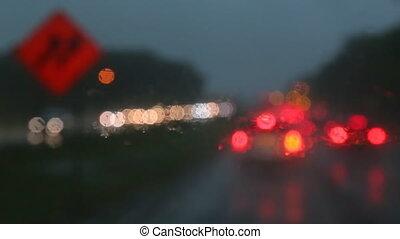 stad, selectieve nadruk, regen, regendruppel