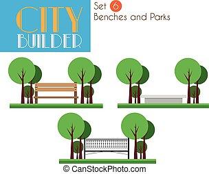 stad, set, banken, aannemer, parken, 6: