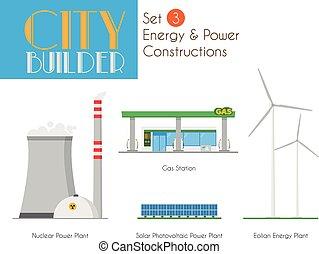 stad, set, macht, 3:, aannemer, bouw, energie