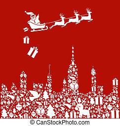 stad, set, vorm, kerstman, kerstmis, pictogram
