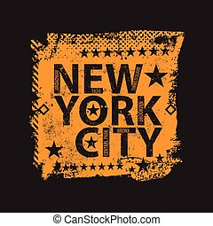 stad, shirt., ouderwetse , york, nieuw, logo