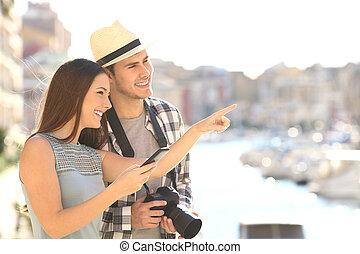 stad, sightseeing, toeristen, kust