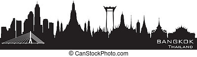 stad, silhouette, bangkok, skyline, vector, thailand