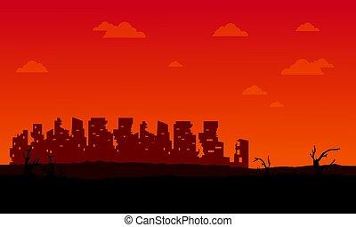 stad, silhouette, bos, kapot