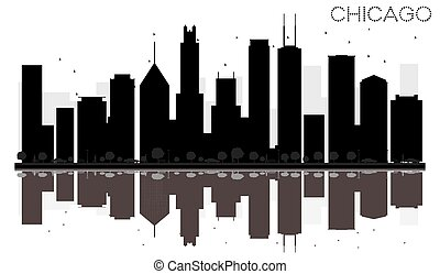 stad, silhouette, chicago, skyline, black , reflections., witte