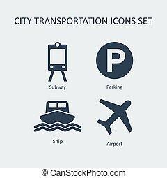 stad, silhouette, iconen, set., vector, vervoer