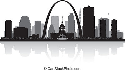 stad, silhouette, louis, skyline, heilige, missouri