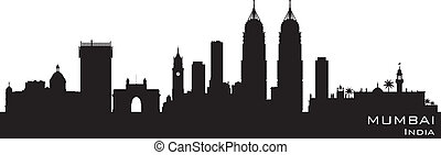 stad, silhouette, mumbai, india, skyline, vector
