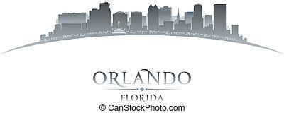 stad, silhouette, orlando, florida, achtergrond, witte